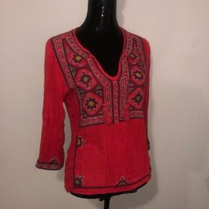 Lucky Brand Jeans Red 3/4 Sleeve Blouse